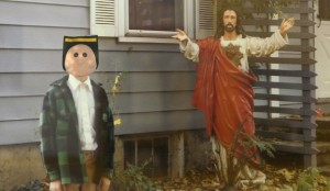 Puppet face and Jesus
